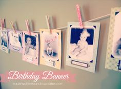 Adorable and simple birthday banner using scrapbook paper and clothespins.  DIY birthday banner for first birthday with picture from each month. Squishy Cheeks & Cupcakes