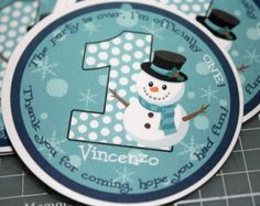 Winter ONEderland SNOWMAN Favor Gift Tags - BOY - Any Color or Age