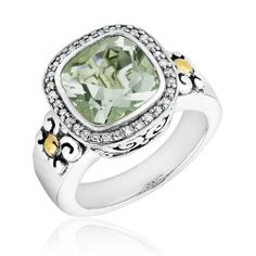 Two-Tone Green Amethyst and Diamond Ring 1/6ctw – Size 7