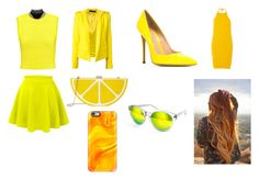 """""""Day and Night 14-Yellow"""" by marianaraposo on Polyvore featuring Alexander Wang, Alexandre Vauthier, Marysia Swim, LE3NO, Gianvito Rossi, Jessica McClintock, Casetify and AQS by Aquaswiss"""