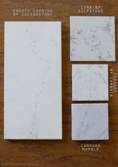 Light counter tops - marble alternatives // carrara is gorgeous but you have to be willing to accept flaws, watermarks, and staining