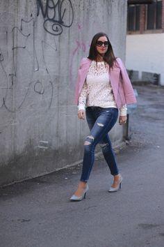 Lace Cutout Sweatshirt, Ripped Jeans and Blush Leather WHBM Jacket