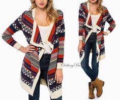 NWT Ivory Black Red Aztec Tribal Knit Thigh Length Cozy Cardigan Long Sleeves #ClothingBucket #Cardigan