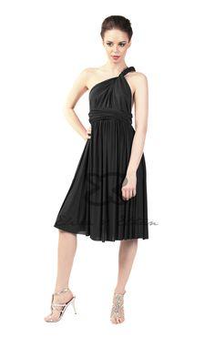 Eliza and Ethan - Multiway - Infinity - Bridesmaids Dresses - OneSize - Short MultiWrap Dress Color: Onyx Black