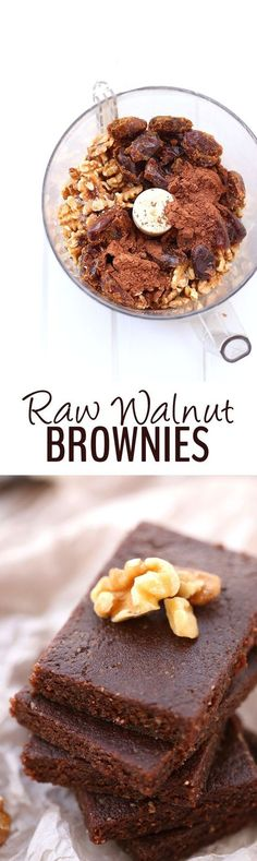4 ingredients is all you need to make these Raw Walnut Brownies. They're gluten-free, vegan, paleo and refined-sugar-free but also taste incredible! Plus they take 5 minutes to whip up.