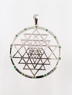 Sterling Silver Sri Yantra Pendant with Tsavorite (green garnet) Sacred Geometry (65.00 USD) by WookNook13