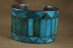 Massive Vintage Channel Inlay Bracelet | eBay