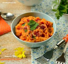 Mashed Sweet Potatoes with Coconut Milk, Bacon, and Cilantro