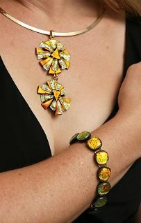 Double Daisy Pendant & Bracelet by Cheryl Smith