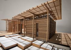 scale model of the FirstLight House made by students of Victoria University School of Architecture and Design. Architecture Model Making, Timber Architecture, Architecture Design, Bamboo House Design, Bungalow House Design, Scale Model Homes, Scale Models, Roof Design, Exterior Design