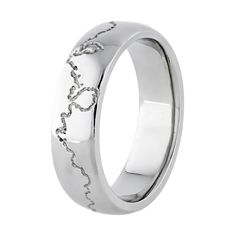 This custom made 9ct White Gold mens wedding ring is engraved with your favourite Coastline, mountain range or river.  Each Coast Ring is custom engraved with your choice of coastline (or mountain range) to provide a subtle and very personal touch to the most important ring you will ever wear.  Handcrafted to order and forged in heavy 1.8 - 2.0mm thick 9ct White Gold, each Coast Ring is made  in a range of widths from 4.0mm to 12.0mm.  Once ordered, your Coast Ring will take 2-3 weeks to…