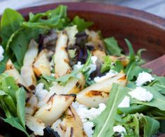 Grilled Pear, Goat Cheese & Dandelion Greens Salad
