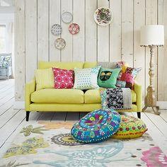 Boho artsy inspiration (via housetohome.co.uk)   Bohemian Style Room Décor. Colorful Pillows