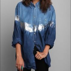 urban outfitters foiled ombré denim shirt A super cute vintage inspired denim shirt with an ombré wash and foiled silver stripe on the front! It's oversized fit makes it perfect for layering. Looks super cute with black jeans or shorts! Urban Outfitters Tops Button Down Shirts
