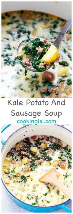 Easy-Kale-Potato-And-Sausage-Soup-Recipe via Cooking LSL (Kale Soup Recipes) - The Best Dishes Kale Soup Recipes, Crockpot Recipes, Cooking Recipes, Easy Kale Recipes, Cooked Kale Recipes, Milk Recipes, Soap Recipes, Sausage Recipes, Recipes Dinner