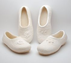 Felted wedding flats?.. It was a customers request from overseas:) I used softest merino and lambs wool, silk, lace, freshwater pearls - wh...