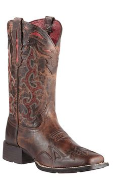 Ariat Sidekick Women's Sassy Brown with Red Embroidery Square Toe Cowboy Boots