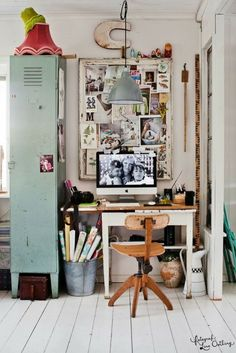 Love the butcher block top w/ Ikea trestle legs...and that locker. Home office inspo - Design*Sponge