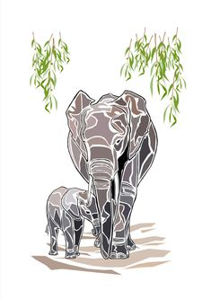 Elephant Mother and Baby, Elephant Print, Elephant Wall Art, Baby Elephant Print, Animal Artwork