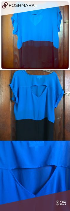 Jennifer Lopez Sheer Top ~ Black and blue sheer top  ~ Higher in the front lower in the back ~ Features triangle peak window in the back ~ 100% polyester   ⭐️All Reasonable Offers Are Considered ⭐️ Jennifer Lopez Tops Blouses