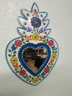 :D❤️Hand Painted Tin Heart Mirror #5--Mexican Folk Art--Colorful-Flowers-10x15 in.