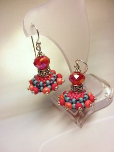 RED and SALMON Beaded Bead Sterling Silver Dangle by dharajewelry