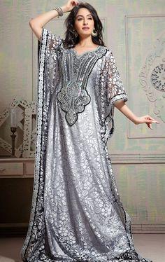 Picture of Chic Gray Arabic Kaftan Dress