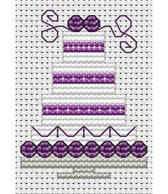 image of Purple Wedding Cake Cross Stitch Card Kit