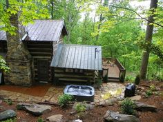 $150-200 Asheville Vacation Rental - VRBO 355875 - 1 BR Smoky Mountains Cabin in NC, Romantic, Log Gap-Hand-Hewed 1800's Logs with Hot Tub