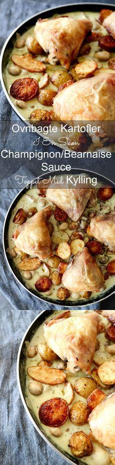 Aftensmaden skal til tider være nem og så er denne her ret med ovnbagte kartofler og kylling i en skøn champignon bearnaise sauce et hit. Jeg vil dog advare, hvis du ikke er til snyde bearnaise, så skal du ikke læse videre ;-) #Aftensmad #Kylling #Champignon #Bearnaise #Kartofler