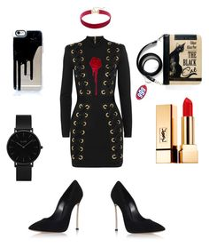 """Sharon Needles (Rupaul's Drag Race S4)"" by fashion-istia ❤ liked on Polyvore featuring Balmain, Casadei, Yves Saint Laurent and CLUSE"