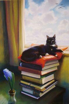 Book themed art of artist Deborah DeWit Alphonse Mucha, Illustrations, Illustration Art, Frida Art, Cool Paintings, Cat Love, Crazy Cats, Cat Art, Cats And Kittens