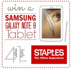 I'm giving away a Galaxy Note 8 Tablet from Staples! Come over and check it out! http://www.4men1lady.com/galaxy-note-8-tablet-want-one/