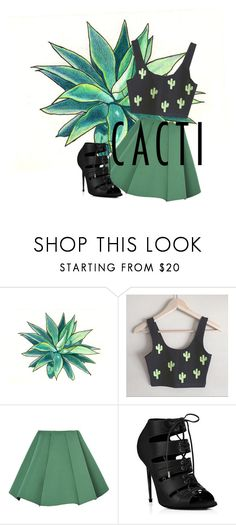 """LOOK🌵🌵🌵🍀🌿🍃🌱"" by marieauer ❤ liked on Polyvore featuring Structured Green, succulents and cacti"