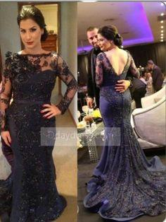 Luxury Plus Size Navy Blue Long Sleeve Trumpet Mermaid Prom Evening Dress ItemNe0019 - Prom Dresses