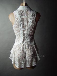 5fa38b8f6d21a Details about White Sheer Lace Corset Back Romantic Victorian Steampunk Top  14 mv Blouse S M L