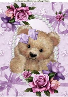 CUTE FUZZY BEAR IN BOWS AND PEARLS WITH ROSES A4 on Craftsuprint - Add To Basket!