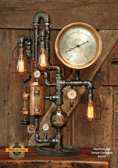 Steampunk Industrial / Antique Steam Gauge Lamp / Keene NH / H.W Hubbard / #1520