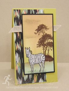 Ikat Animal Print by RunningwScissorsStamper, Stampin' Up, Sweet Sorbet, Zoo Review, Zebra, brayer, Serene Silhouette