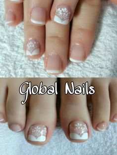 French Pedicure, Pedicure Nail Art, Toe Nail Art, Nail Art Hacks, Nail Art Diy, Diy Nails, Toenail Art Designs, French Nail Art, Nail Art Videos