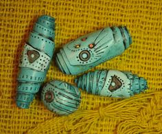 Turquoise rolled beads by Page's Creations, via Flickr   #Polymer #Clay #Tutorials