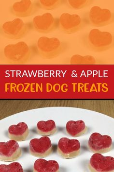 A fun & simple frozen dog treats recipe. Treat your dog this summer with this easy-to-make recipe for frozen strawberry, apple and peanut butter dog treats. Dog Cake Recipes, Dog Biscuit Recipes, Dog Food Recipes, Recipes For Dog Treats, Best Treats For Dogs, Puppy Treats, Diy Dog Treats, Healthy Dog Treats, Homade Dog Treats