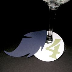 Wine Glass Place Card Stemware Name Tag Blue Green by MinksPaperie, $1.50