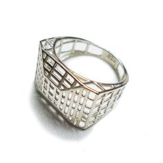 Architectural Geometric Sterling Silver Ring