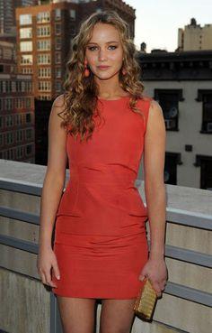 Jennifer Lawrence wearing House of Lavande Schreiner Coral Earrings.