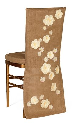 burlap chair covers with flowers I will add my own design. Love the idea. I am almost done doing this. I will show you my own decorations and what they mean to me