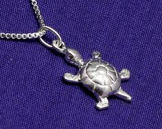 Turtle Necklace,Sterling Silver,Tiny,Small,Petite,Nautical Jewelry,Ocean Jewelry,Sea Turtle,Nautical Necklace,Turtle Charm,Turtle Pendant - pinned by pin4etsy.com