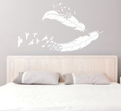 Conception de plume et oiseaux vinyle autocollant - sticker mural de plume, grand mur de vinyle, oiseau Decor, au dessus du lit, l'intérieur du foyer, Chambre des filles
