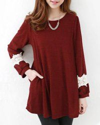 Sweet Style Scoop Neck Lacework Splicing Cotton Long Sleeve Women's Blouse