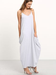 16$  Watch now - http://di7ni.justgood.pw/go.php?t=1986 - Grey Spaghetti Strap Pockets V Back Maxi Dress 16$